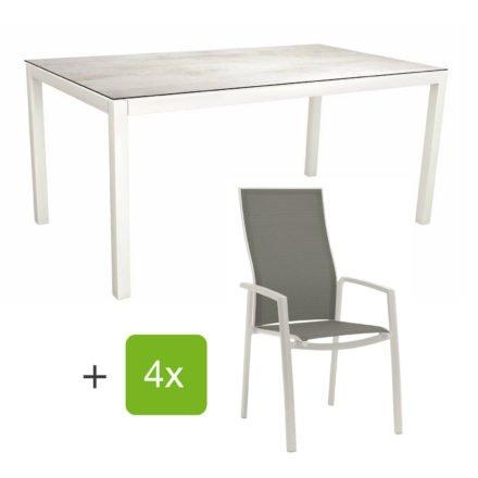 "Stern Gartenmöbel-Set mit Stapelsessel ""Kari"" (hohe Lehne), Gestelle Alu weiß, Sitzfläche Textilgewebe silberfarben, Tischplatte HPL Zement hell, 160x90 cm"
