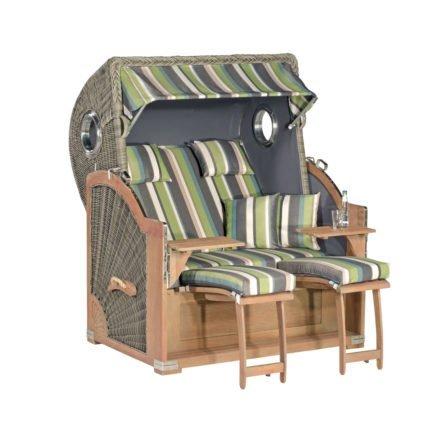 "SunnySmart Strandkorb ""Rustikal 500 Plus Comfort"", Mahagoni rustic-washed, Geflecht basalt-grau, Stoff-Nr. 1226 / uni anthrazit"