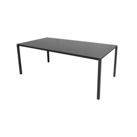 """Cane-line Gartentisch """"Pure"""", Gestell Aluminium lavagrau, Platte Keramik nero-black, 200x100 cm"""