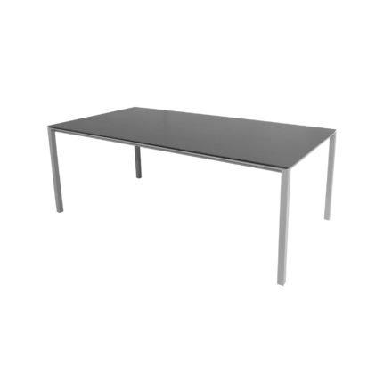 "Cane-line Gartentisch ""Pure"", Gestell Aluminium hellgrau, Platte Keramik nero-black, 200x100 cm"