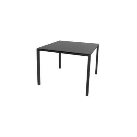 """Cane-line Gartentisch """"Pure"""", Gestell Aluminium lavagrau, Platte Keramik nero-black, 100x100 cm"""