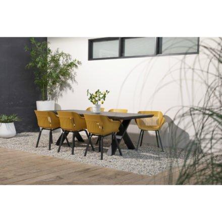 """Hartmann Gartenmöbel-Set mit Tisch """"Xanadu"""" und 6 Stühlen """"Jill"""", Aluminium xerix. Sitzschale curry"""