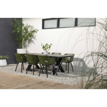 """Hartmann Gartenmöbel-Set mit Tisch """"Xanadu"""" und 6 Stühlen """"Jill"""", Aluminium xerix. Sitzschale moosgrün"""