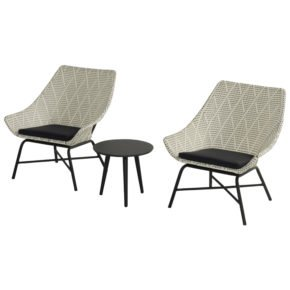 """Hartman Lounge Chair """"Delphine"""", Gestell Aluminium Carbon Black, Geflecht Diamond mit Beistelltisch """"Sophie Studio"""""""