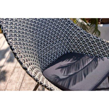 """Hartman Lounge Chair """"Delphine"""", Gestell Aluminium Carbon Black, Geflecht Black&White mit Kissen dark grey"""