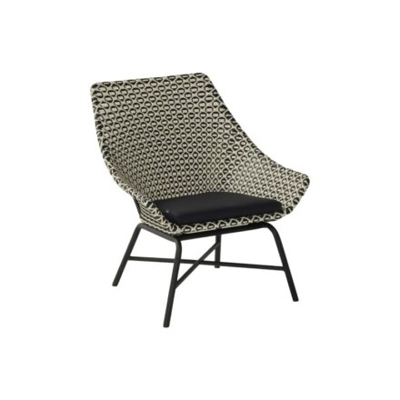 "Hartman Lounge Chair ""Delphine"", Gestell Aluminium Carbon Black, Geflecht Black&White"