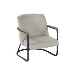 "Hartman Loungesessel ""Studio 54"", Gestell Aluminium Carbon Black, Polster mit QuickDry Foam-Füllung, Bezug Sunbrella® in Grey, Armlehnen Teakholz"
