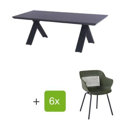 """Hartman Gartenmöbel-Set mit Stuhl """"Jill"""" und Gartentisch """"Xanadu"""", Gestelle Aluminium xerix, Sitz Kunststoff moosgrün, Tischplatte HPL Anthrazit"""