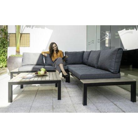 """Home Islands Loungeset """"Birma"""", Gestell Alu anthrazit, Sitz- und Rückenfläche Textilgewebe schwarz, Polster hellgrau 100% Polyester"""