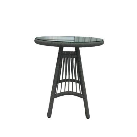 "Home Islands Cocktailtisch ""Kwai"", Gestell Aluminium schwarz matt, Bespannung Rope hellgrau, Tischplatte Glas"