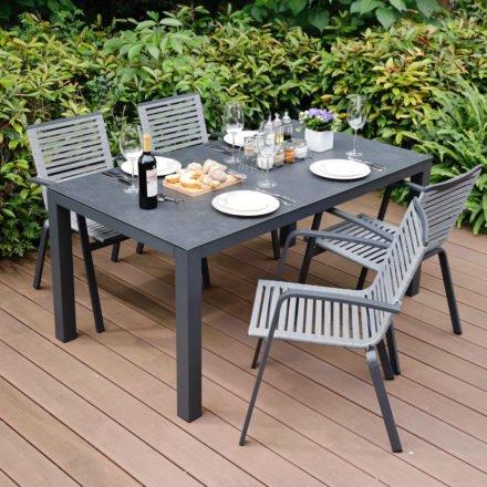 """Home Islands Gartenmöbel-Set mit Tisch """"Borneo"""" und Stuhl """"Malaki"""", Gestell Aluminium charcoal, Tischplatte Glaskeramik Dark Grey, Sitzflächen-Bespannung Rope Grey"""