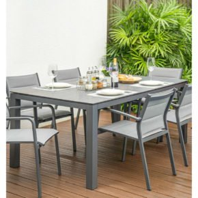 "Home Islands Gartentisch ""Dayann"", Gestell Aluminium anthrazit, Tischplatte HPL Dark grey"