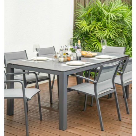 "Home Islands ""Dayann"" Gartentisch, Gestell Aluminium anthrazit, Tischplatte HPL dark grey"