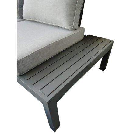 "Home Islands Loungegruppe ""Laos"", Gestell und Sitzfläche aus Aluminium anthrazit, Polster hellgrau"