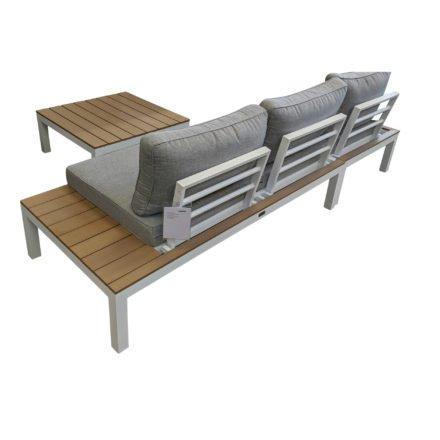 """Home Islands Loungeserie """"Laos"""", Gestell Aluminium weiß, Polster in Hellgrau, Ablagen Polywood, 2-Sitzer, Eckteil & Loungetisch"""