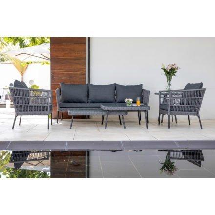 """Home Islands Loungeserie """"Mekong"""", Gestell Aluminium schwarz matt, Rope-Bespannung hellgrau, Kissen anthrazit, Tischplatten Glas"""