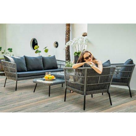 """Home Islands Loungeset """"Mekong"""" 5-teilig mit 3-Sitzer Loungesofa, Sesseln und Couchtischen, Rope-Bespannung hellgrau, Kissen anthrazit, Tischplatte Glas"""