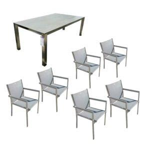 """Home Islands Gartenmöbel-Set mit Tisch """"Miharu"""" und Sessel """"Daiki"""", Gestelle Edelstahl, Platte Keramik Aspen grey, Sitzfläche Textilgewebe silver black, Armlehnen Alu grau"""