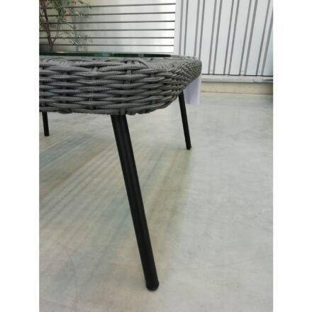 """Home Islands Loungetisch """"Mekong"""", Gestell Alu schwarz matt, Bespannung Rope hellgrau, Tischplatte Glas, 85x85 cm"""