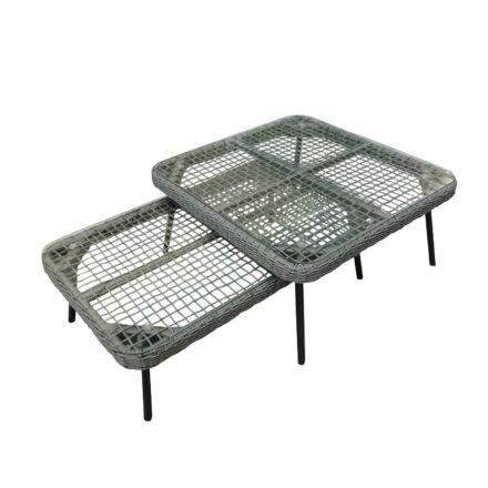 """Home Islands Loungetisch """"Mekong"""", Gestell Alu schwarz matt, Bespannung Rope hellgrau, Tischplatte Glas, in zwei Größen erhältlich"""
