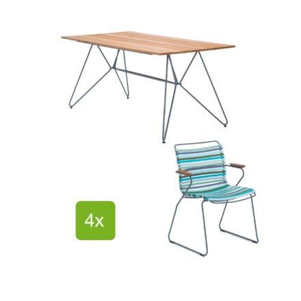 """Gartentisch """"Sketch"""" 160x88 cm mit 4 Stühlen """"Click"""", Lamellen multi color 2"""