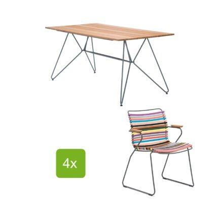 """Gartentisch """"Sketch"""" 160x88 cm mit 4 Stühlen """"Click"""", Lamellen multi color 1"""
