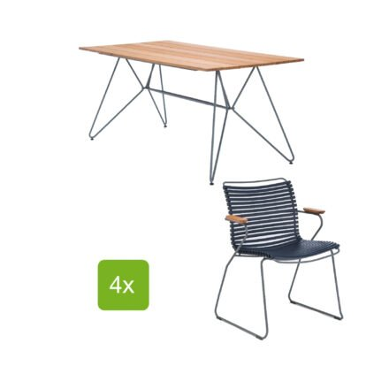 """Gartentisch """"Sketch"""" 160x88 cm mit 4 Stühlen """"Click"""", Lamellen dunkelblau"""