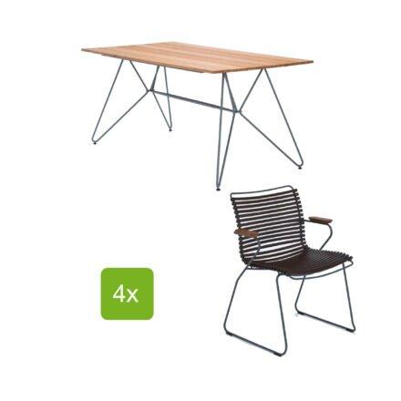 """Gartentisch """"Sketch"""" 160x88 cm mit 4 Stühlen """"Click"""", Lamellen dunkelbraun"""