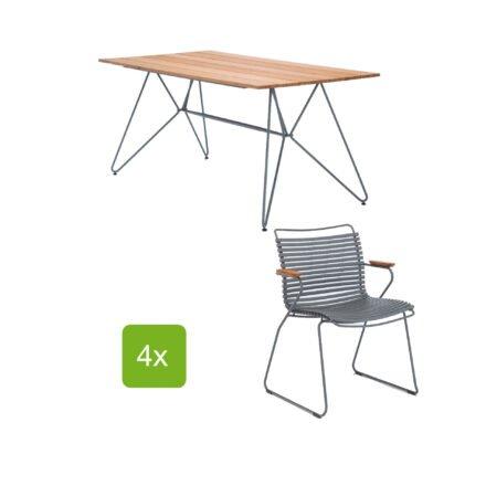 """Gartentisch """"Sketch"""" 160x88 cm mit 4 Stühlen """"Click"""", Lamellen dunkelgrau"""