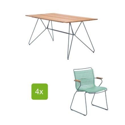 """Gartentisch """"Sketch"""" 160x88 cm mit 4 Stühlen """"Click"""", Lamellen dusty green"""