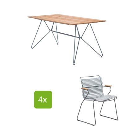 """Gartentisch """"Sketch"""" 160x88 cm mit 4 Stühlen """"Click"""", Lamellen grau"""