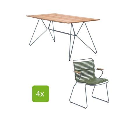 """Gartentisch """"Sketch"""" 160x88 cm mit 4 Stühlen """"Click"""", Lamellen olivgrün"""