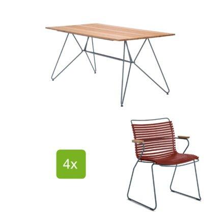 """Gartentisch """"Sketch"""" 160x88 cm mit 4 Stühlen """"Click"""", Lamellen paprika"""