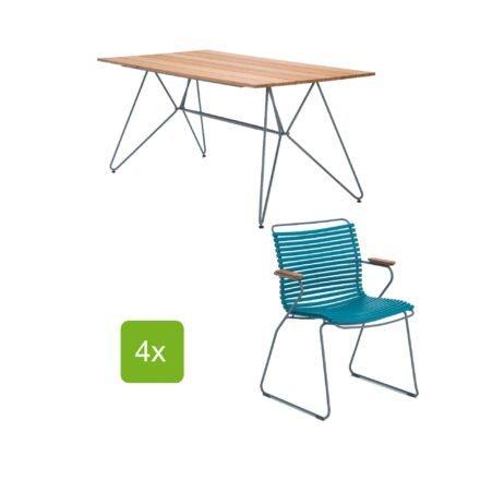 """Gartentisch """"Sketch"""" 160x88 cm mit 4 Stühlen """"Click"""", Lamellen petrol"""