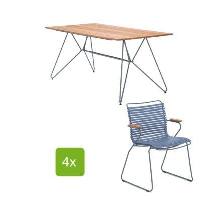 """Gartentisch """"Sketch"""" 160x88 cm mit 4 Stühlen """"Click"""", Lamellen pigeon blue"""