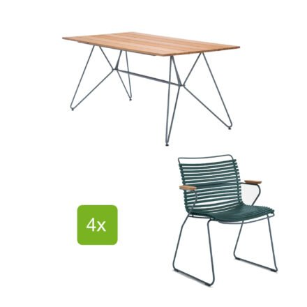 """Gartentisch """"Sketch"""" 160x88 cm mit 4 Stühlen """"Click"""", Lamellen pine green"""