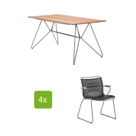 """Gartentisch """"Sketch"""" 160x88 cm mit 4 Stühlen """"Click"""", Lamellen schwarz"""