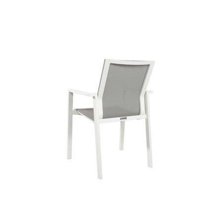 Jati&Kebon Stapelsessel Beja, Gestell Aluminium weiß, Textilgewebe hellgrau, Armlehnen Aluminium