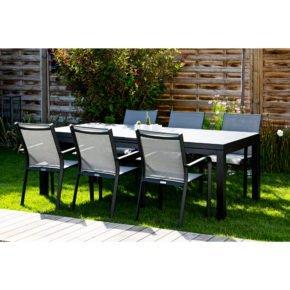"""Jati&Kebon Gartenmöbel-Set mit Tisch """"Gabon"""" und 6 Stapelsesseln """"Dransy"""", Alu eisengrau, Tischplatte HPL, Bespannung Textilen silbergrau"""