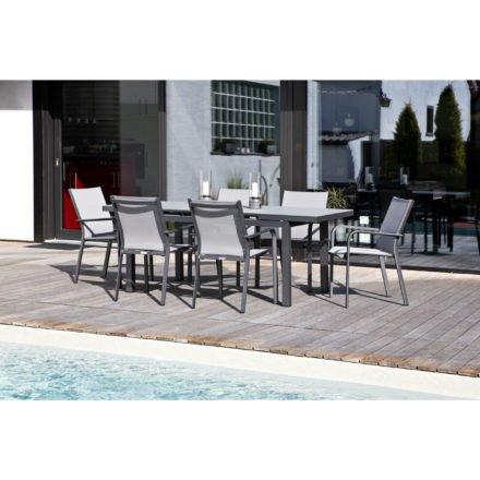 """Jati&Kebon Gartenmöbel-Set mit Tisch """"Gabon"""" und 6 Stapelsesseln """"Dransy"""", Alu eisengrau, Tischplatte Glas, Bespannung Textilen silbergrau"""