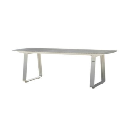 "Jati&Kebon Gartentisch ""Elko"", Gestell Aluminium weiß, Tischplatte Keramik Zement hell"