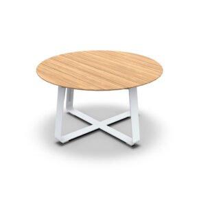 """Jati&Kebon Gartenntisch """"Elko"""", Gestell Aluminium weiß, Tischplatte rund Teakholz"""