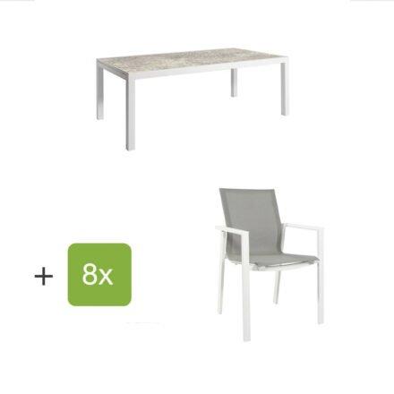 """Jati&Kebon Gartenmöbel-Set mit Ausziehtisch """"Livorno"""", Alu weiß, Tischplatte HPL hellgrau und acht Stühlen """"Beja"""", Alu weiß, Textilen hellgrau"""