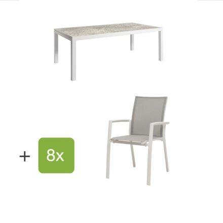 """Jati&Kebon Gartenmöbel-Set mit Ausziehtisch """"Livorno"""", Alu weiß, Tischplatte HPL hellgrau und acht Stühlen """"Sevilla"""", Alu weiß, Textilen hellgrau"""