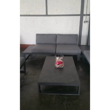 """Jati&Kebon Loungetisch """"Virginia"""", Gestell Aluminium eisengrau, Tischplatte HPL Nero granite, 2-Sitzer Seitenteil rechts, Sunbrella® schiefergrau (slate)"""