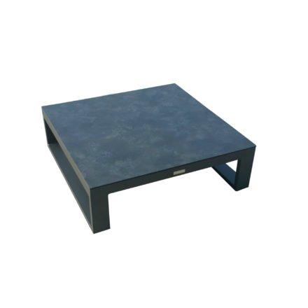 """Jati&Kebon Loungetisch/Ecktisch """"Virginia"""", Gestell Aluminium eisengrau, Platte HPL nero, 85x85 cm"""