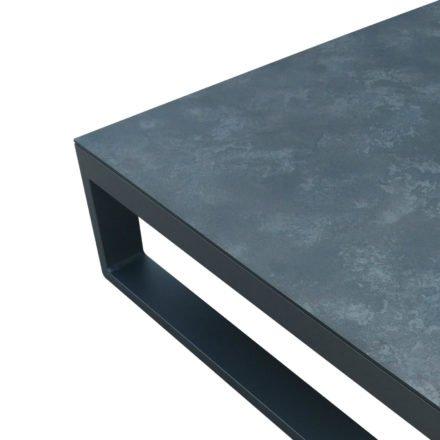 "Jati&Kebon Loungetisch ""Virginia"", Gestell Aluminium eisengrau, Platte HPL nero"