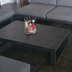 "Jati&Kebon Loungetisch ""Virginia"", Gestell Aluminium eisengrau, Tischplatte HPL Nero granite"