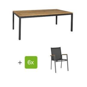 "Gartenmöbel Set ""Lugo/Rome"", Aluminiumgestell eisengrau, Tischplatte aus Teakholz, Textilen schwarz"