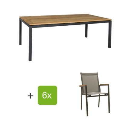 "Gartenmöbel Set ""Lugo/Rome"", Aluminiumgestell eisengrau, Tischplatte aus Teakholz, Textilen silbergrau"